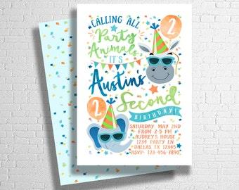 Party Animal Invitation | Zoo Birthday Invitation | Party Animal Birthday Invite | Calling all party animals | ANY AGE - DIGITAL only