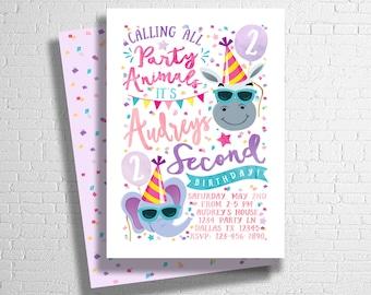 Party Animal Birthday Invitation | Zoo Birthday Invitation | Animal Birthday Invite | Calling all party animals | ANY AGE - DIGITAL only