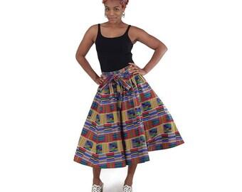 Red/Blue Short Kente Skirt