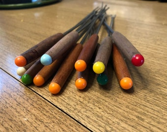Vintage skewers fondue sticks colorful wooden pointy
