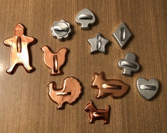 Vintage cookie cutters set dog chicken gingerbread man card suits diamond heart spade club