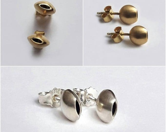 18k silver or gold earrings, button earrings