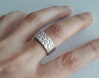 Silver ring, women's wedding ring, single ring, 18-carat rose gold ring