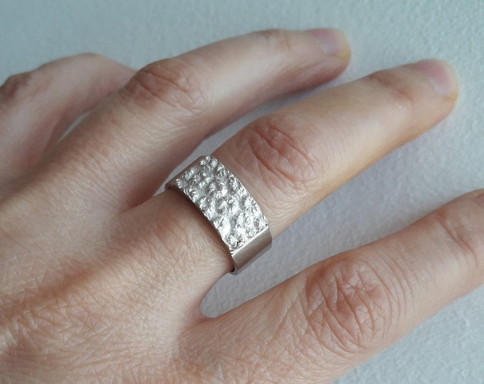 Silver ring, women's wedding ring, single ring, 18-carat rose gold ring