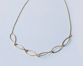 Gold plated necklace, adjustable length, thin and light necklace, handmade