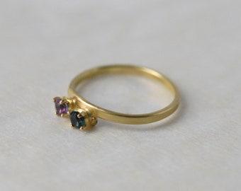 Engagement ring, 18-karat yellow gold wedding ring, set ring