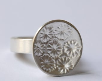 Silver ring, ring with poppy prints