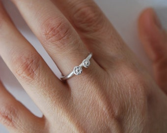 Women's solid silver ring, Ring combined with other rings, minimalist fine ring