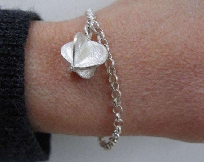 Silver bracelet, adjustable bracelet, seed charm bracelet