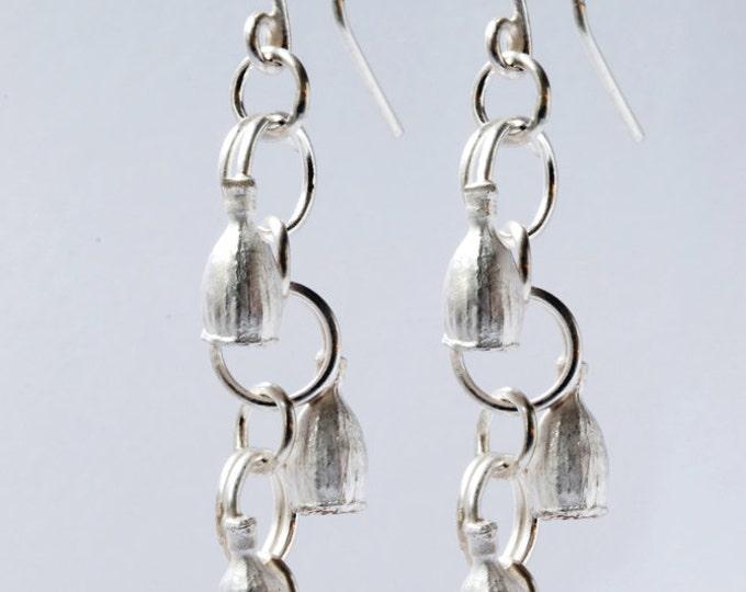 Silver dangling earrings, small poppy earrings