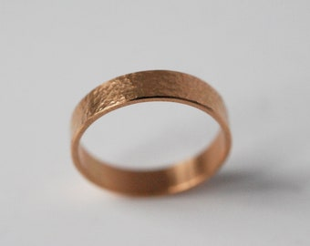 18K gold hammered ring, 5mm or 4mm strip