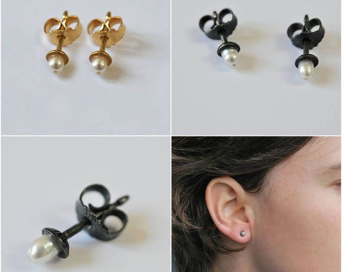 Pearl Earrings freshwater pearls, silver or 18K Yellow Gold blackened