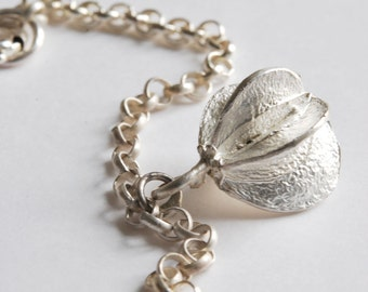 Sterling Silver, seed cotton cord or chain