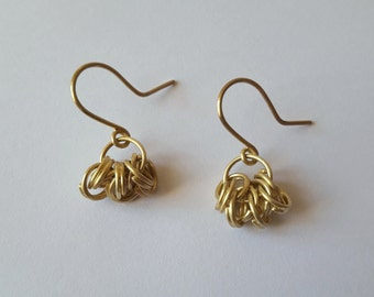 Gold and silver dangling earrings 925, ring earrings