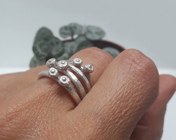 Fine silver ring, Ring combined with other rings