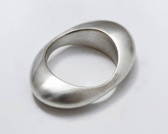 925 silver solid ring brushed silver, pebble ring