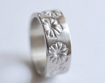Ring in silver or gold 18 k, print, wedding ring