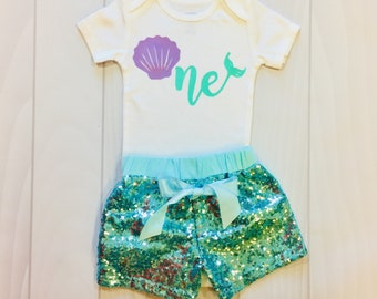 36248cc846564 Mermaid | One | Girls First Birthday | Mermaid Outfit | Girls Clothing |  Mermaid Outfit