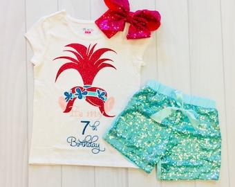 Poppys | Trolls | Birthday | Shirt | It's My 7th Birthday | Seven | 7th | Girls