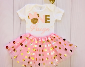 Girls | Minnie Mouse | Birthday | First | Custom Child's Name | One
