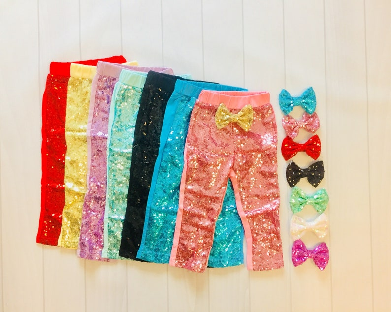 d8598a1c2b Girls Sequin Leggings | Sparkle Pants | Glitter Leggings | Pink | Blue |  Gold | Red | Black | Hot pink