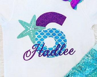 Girls Mermaid Shirt   Birthday Shirt   Birthday Outfit   Custom Name   Mermaid Birthday