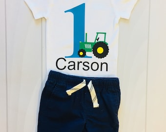 First Birthday | Tractor and Name | Boys First | 1st Birthday | Boys Clothing