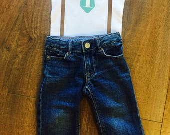 Boys Custom First | Birthday | Tie | Suspenders