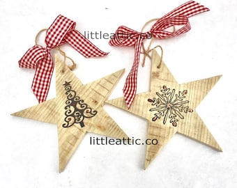 Wooden Star Christmas Tree Decorations, Christmas Tree Decorations, Christmas Baubles, Hanging Wooden Stars, Handmade Christmas Decor