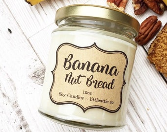 Banana Nut Bread Scented Candle, Scented Candles, Banana Bread Candle, UK Candles, Soy Candles, Jar Candle, Food Scented Candle