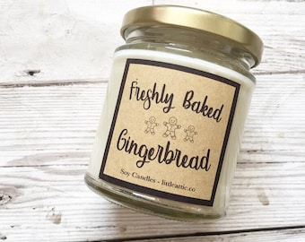 Gingerbread Scented Soy Wax Candle, White Christmas Scented Candles, Christmas Gifts For Her