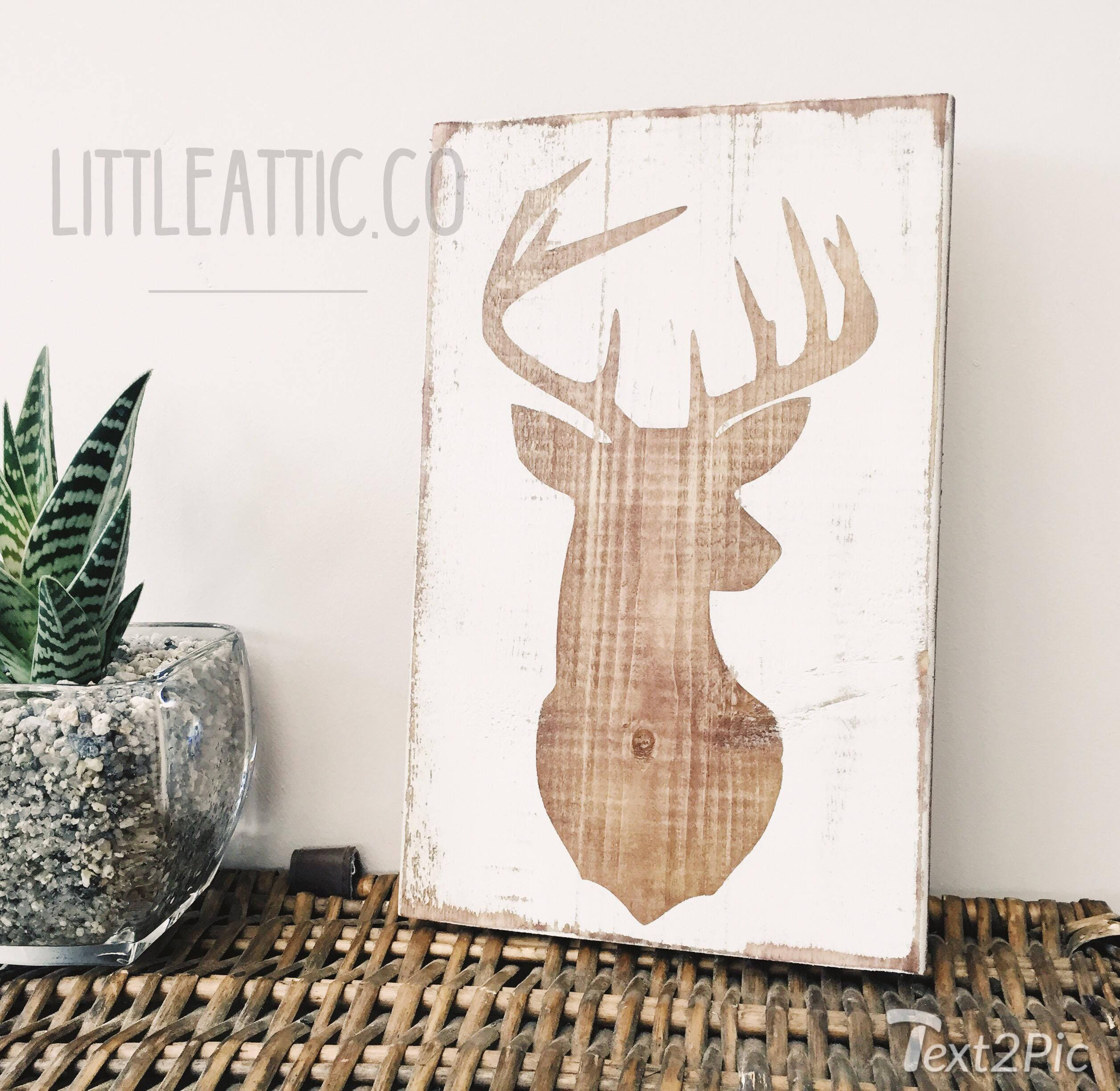 c8f7d880cbad8 Stag Wood Sign, Deer Wood Sign, Rustic Wood Signs, Woodland Animal Sign,  Distressed Signs, Wood Sign, Farm House Decor