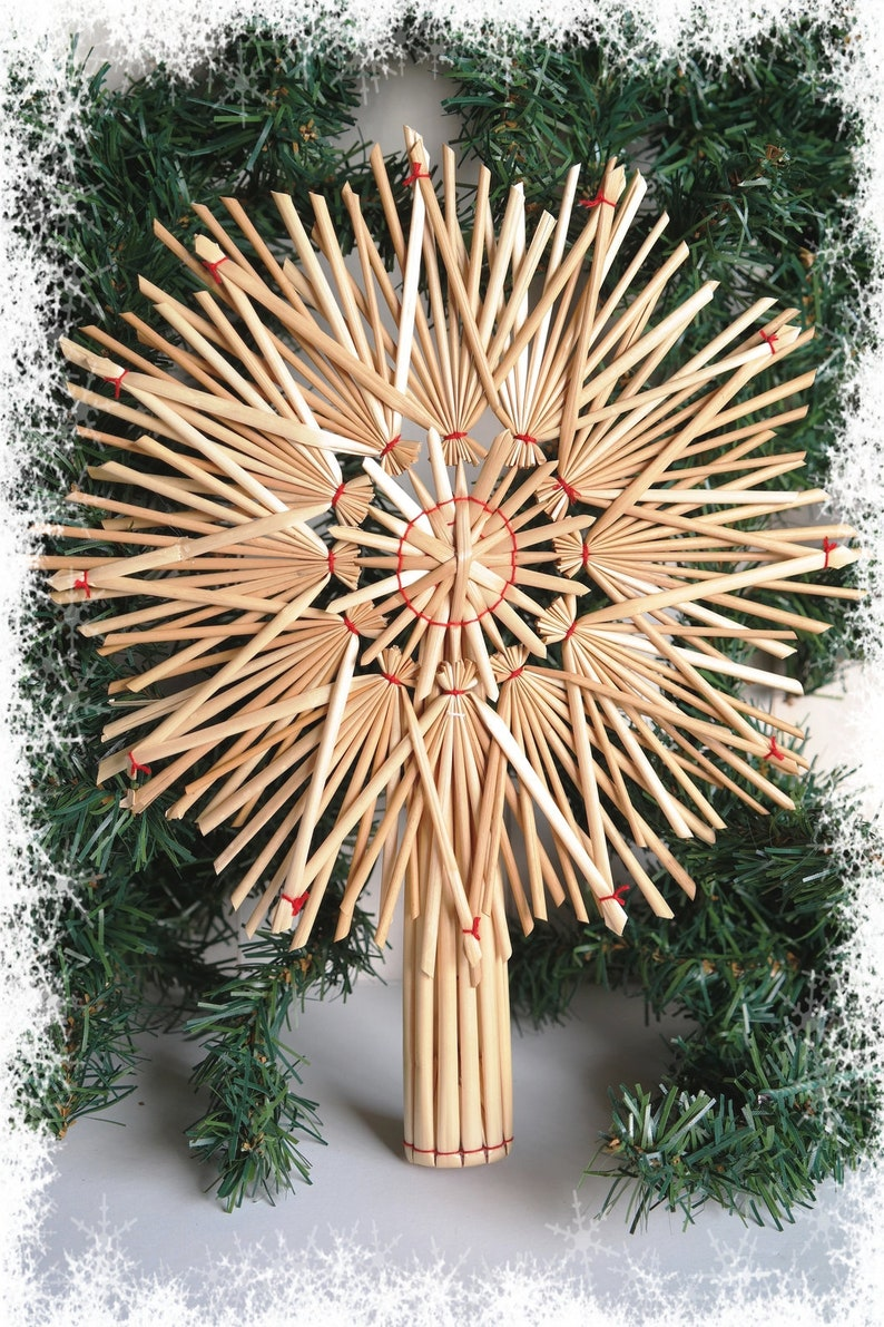 Christmas Tree Topper Christmas Straw Topper Rustic image 0