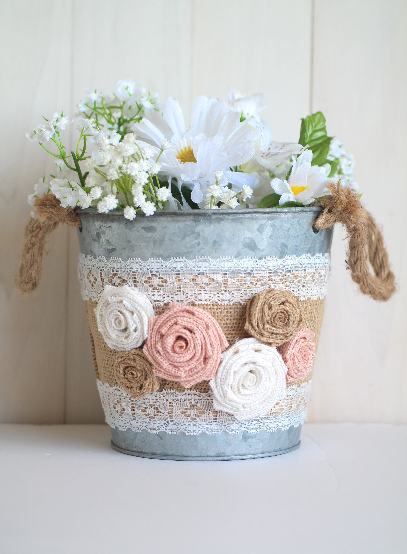 Flower Girl Bucket Shabby Chic Wedding Rustic Bucket With Etsy