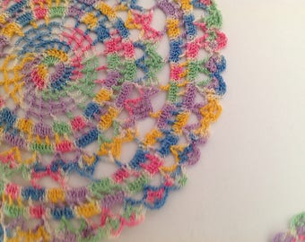 Doilies  Multi-Colored Hand Crocheted 4 Pieces