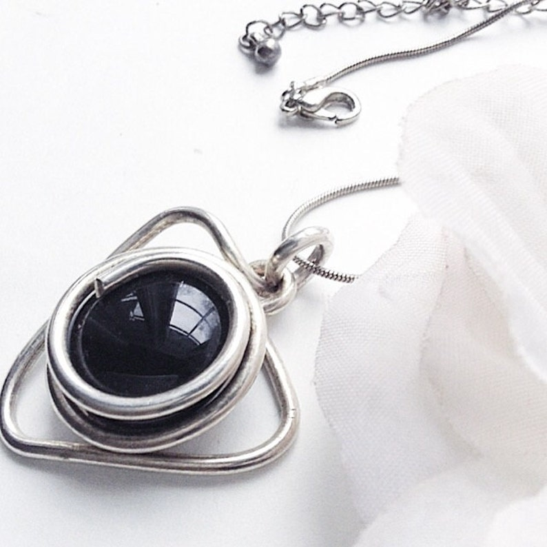 one of a Kind Pendant, Boho Pendant Modernist Pendant Geometric Pendant Abstract Handmade Pendant Black Stone Silvertone Pendant