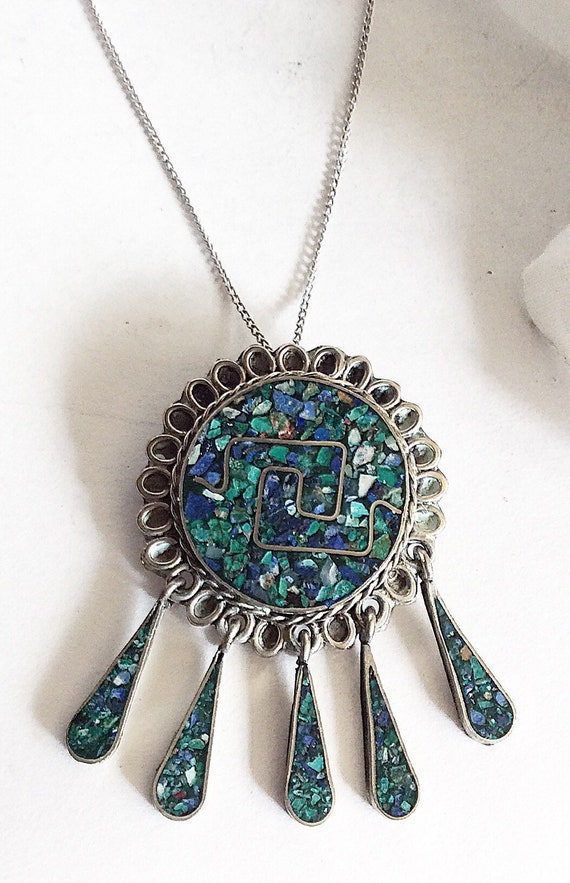 Turquoise Gift For Her, Turquoise Pendant, Crushed