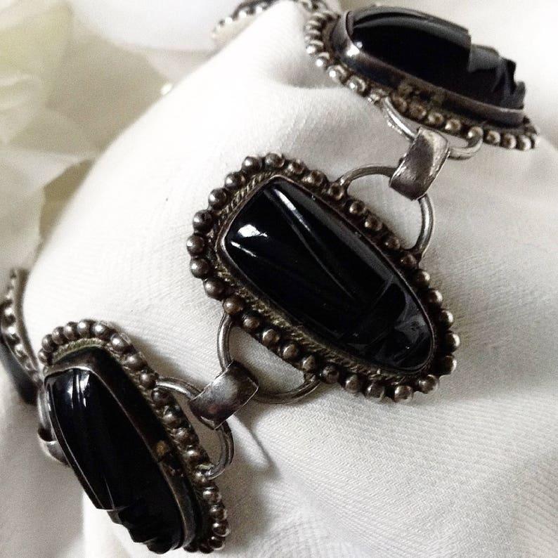 Bohemian Bracelet Silver Statement Piece Vintage Jewelry Carved Onyx Bracelet Exotic Bracelet Tribal Mask Bracelet Onyx Bracelet