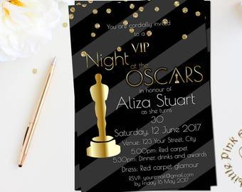 oscar party invitation printable award viewing academy awards etsy