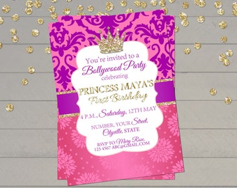 Second Birthday Invitation Girl Princess Royal