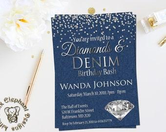 denim and diamonds invitation fabulous 50 invite 65th birthday invitations 50th birthday invitations 50th birthday diamonds denim