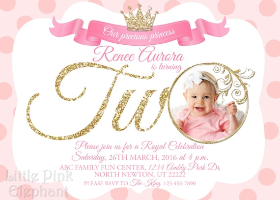 Second Birthday Invitation Girl Princess Royal Invitations Invites Prince