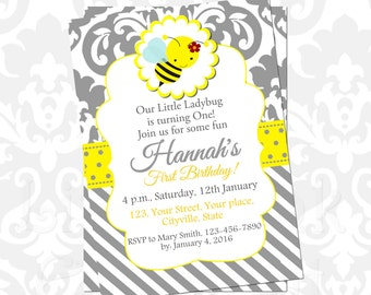 Bumble bee birthday invitation party printable birthday baby shower yellow grey gray invites diy bee party