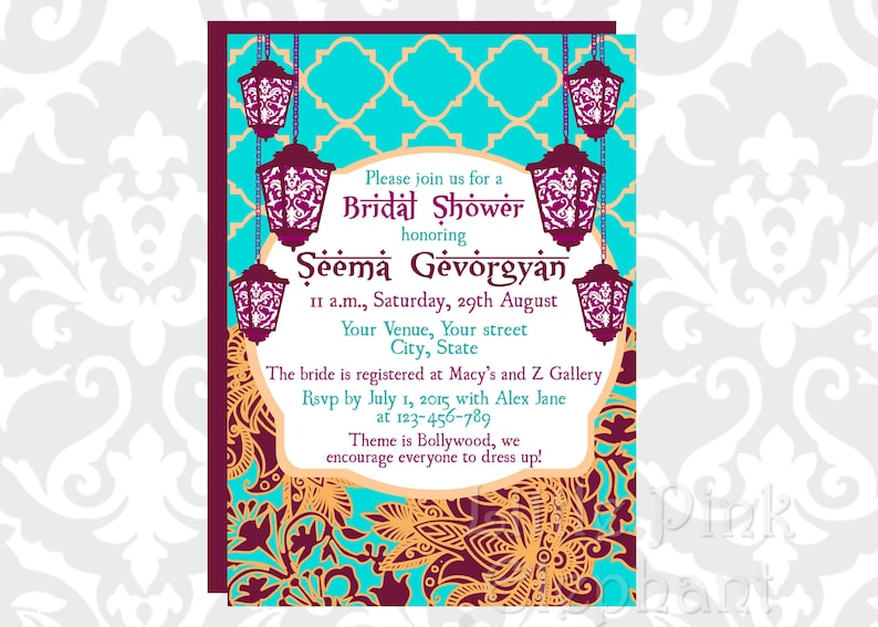 04366b210449 Bollywood invitation Indian bridal shower invitation Hindu