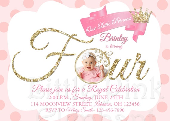 Princess 4th Birthday Invitations Royal Invitation
