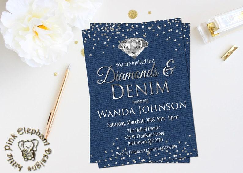 Denim And Diamonds Invitation Fabulous 50 Invite