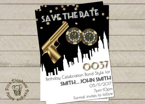 James Bond Party Invitation Bond Party Bond Birthday Invites Etsy