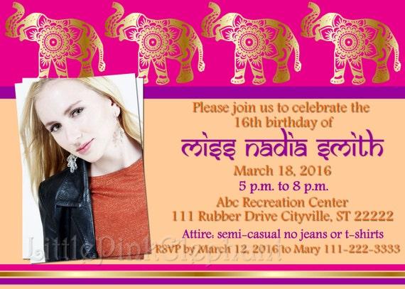 Indian Birthday Invitations Bollywood Party Invitations Etsy