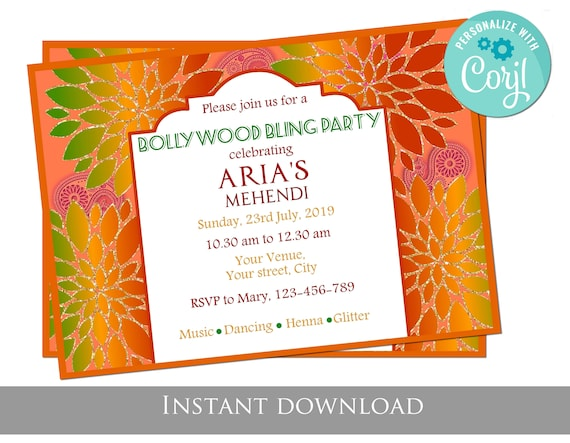 GLow in the dark traditional Indian invitation Indowestern Wedding invitation Ready to download and easy to edit. Editable digital invite