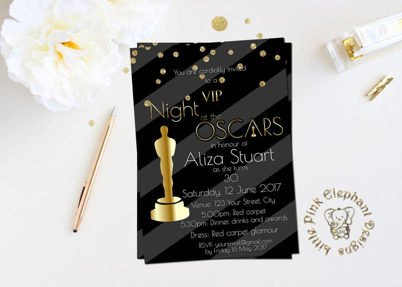Oscar Party Invitation Academy Awards Invitations Viewing